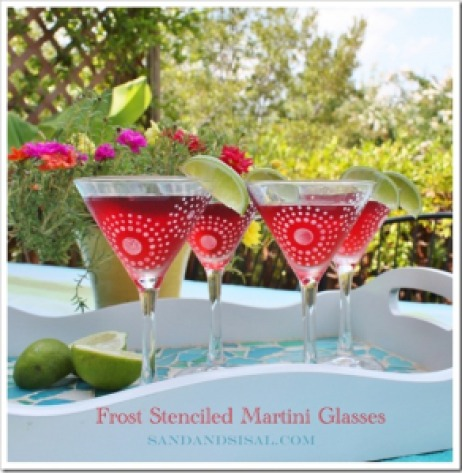 Frost Stenciled Martini Glasses Thumbnail